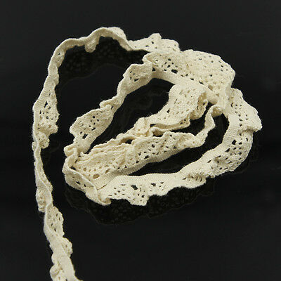 (5Yds 0.5 Inch Off White Cotton Elastic Lace Trims Ribbon Trimmings Lace Fabric )