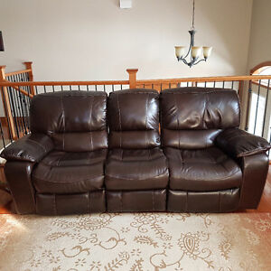 Genuine Leather Brown Reclining Sofa and Loveseat