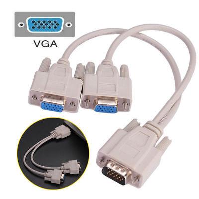 2-wege Vga Svga Splitter (1 PC zu 2 Wege VGA Svga Monitor Y-Splitter Kabel 15-polig Stecker Buchse LCD TFT)