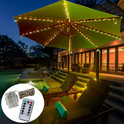 104LED Battery Powered Garden Parasol Umbrella Chain Light Fairy Lights w/Romote Battery Powered Umbrella Light