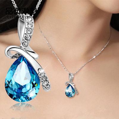 Ladies Girls Womens Light Blue Necklace Silver Chain Crystal Rhinestone Pendant