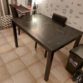 Black dining kitchen table