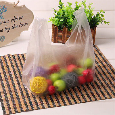 100pcs PLASTIC SHOPPING BAGS MEDIUM SIZE SHIRT TYPE GROCERY, HAPPY FACE WHITE