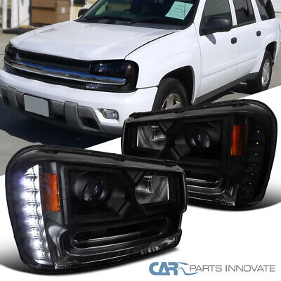 Fit Chevy 02-09 Trailblazer LED DRL Black Smoke Projector Headlights Head Lamps