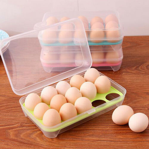 US 15Grids Egg Storage Box Home Restaurant Food Fridge Durab