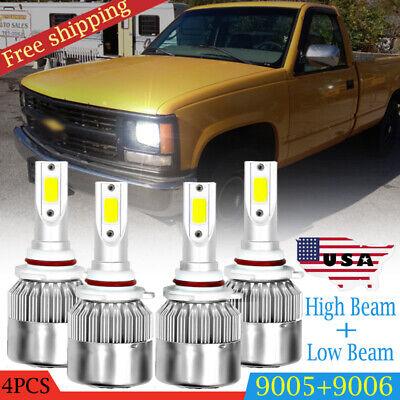 Fit Chevrolet Pickup Truck 1500 2500 1990-2000 White 6000K LED Headlight Bulb 4x
