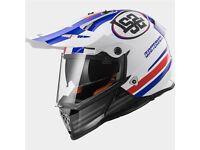 LS2 MX436 Pioneer Quarterback Adventure Helmet (White/Red/Blue) (ON/OFF ROAD)