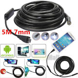 5M 7mm 6 LED USB Waterproof Endoscope Borescope Snake Inspection Camera Android