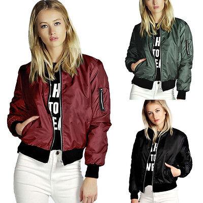 Stylish Womens Ladies MA1Classic Padded Bomber Jacket Vintage Zip Up Biker Coat