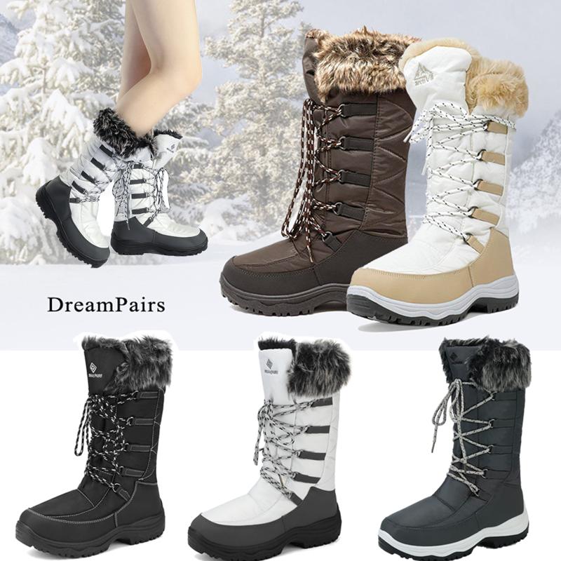 DREAM PAIRS Women Warm Faux Fur Lined Waterproof Mid Calf Zi