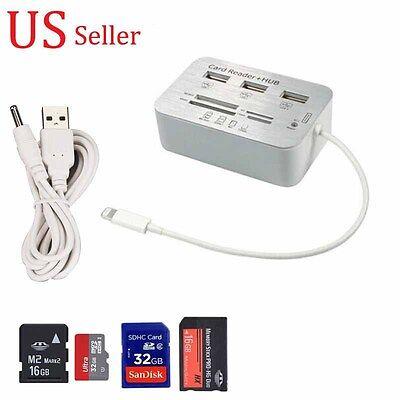 Card Reader Adapter+3-USB HUB Camera Connection Combo Kit for iPad 4/MINI/AIR/2