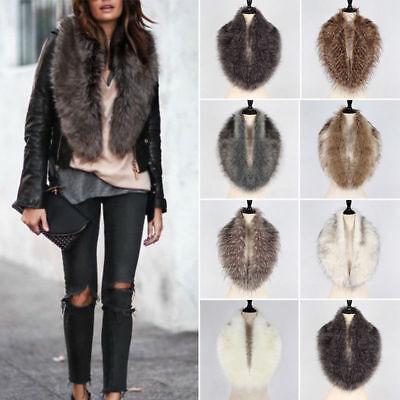 (Womens Faux Fur Hooded Collar Scarf Shawl Wrap Stole Fluffy Warm Neck Warmer )