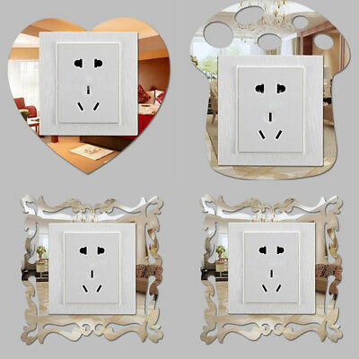 Home Decoration - 4pcs Silver Mirror Flower Light Switch Surround Wall Sticker Cover Frame Decor Y