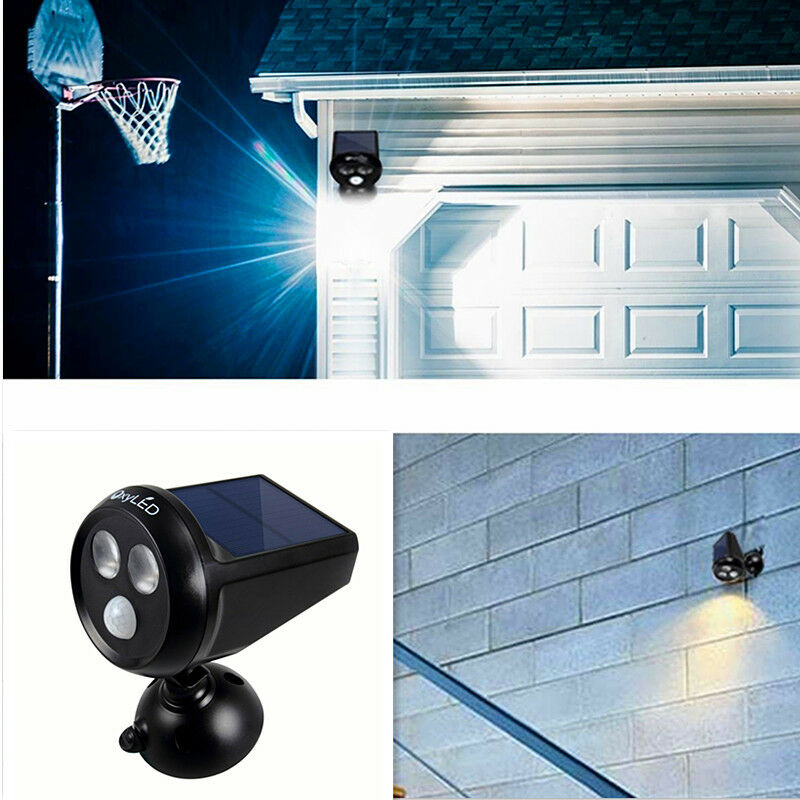 LED Solar Motion Sensor Spotlight Wireless Battery Powered O