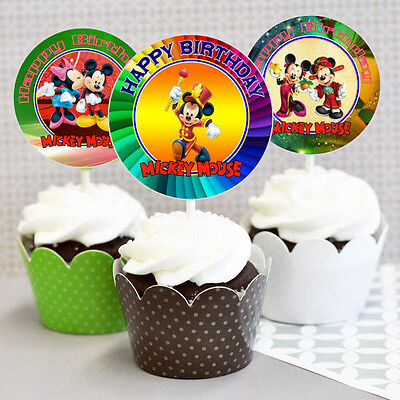 Mickey Mouse Cupcake Picks (12 Happy Birthday Mickey Mouse Inspired Party Picks, Cupcake Toppers Set)