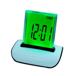 Safty LED Digital Alarm Clock Changing Thermometer LCD Desk Bed Light 7 Colors