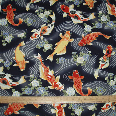 Asian inspired Stunning KOI fish swimming on Black  Sold by the yard