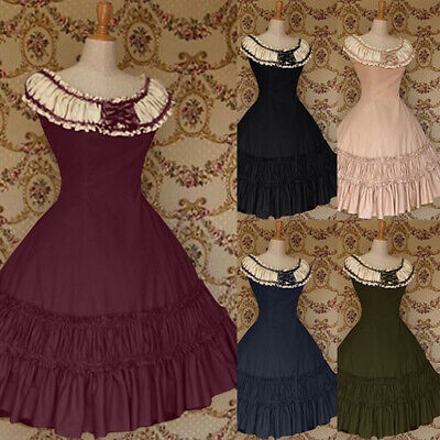 Medieval Victorian Women Retro Lolita Ruffles Party Gown Dress Cosplay Costume - Retro Party Costumes