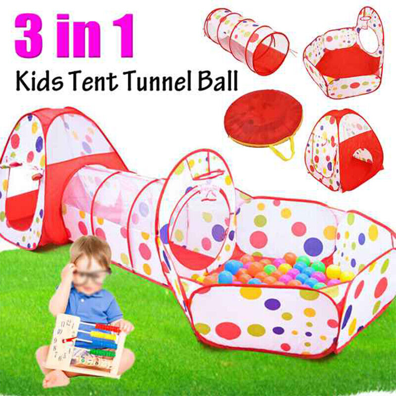 Details about Portable 3 in1 Childrens Kids Baby Fun Play Tent Tunnel Ball Playhouse Pop Up UK