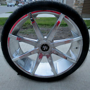 26 inch DUB rims with tires for sale