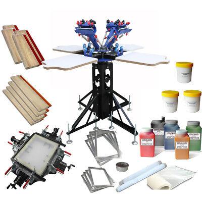 4 Color 4station Screen Printing Kit Manual Screen Stretcher Shirt Press Printer