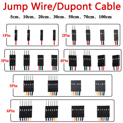 New F-f F-m M-m Jump Wire 1 2 3 4 5 6 Pin Dupont Cable 5 10 20 30 50 70 100cm