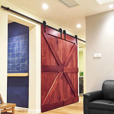 12Ft Black Antique Style Double Sliding Barn Wood Door Closet Hardware Set US