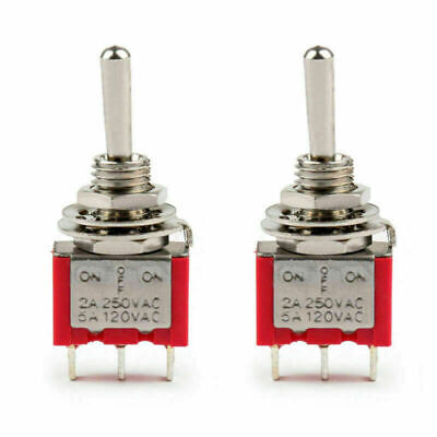 2x Mini 6mm Mts-103 Toggle Switch 3 Pin 3 Position Spdt On-off-on 5a125vac Us
