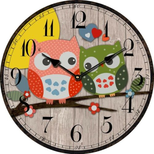 Bird Style Kids Owl Wall Clock Vintage Antique Wooden Wall Clock Modern Design L