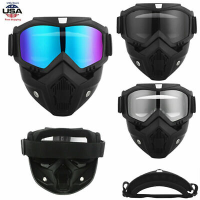 Motorcycle Motocross Helmet Full Face Mask Safety Goggles Shield Glasses Eyewear