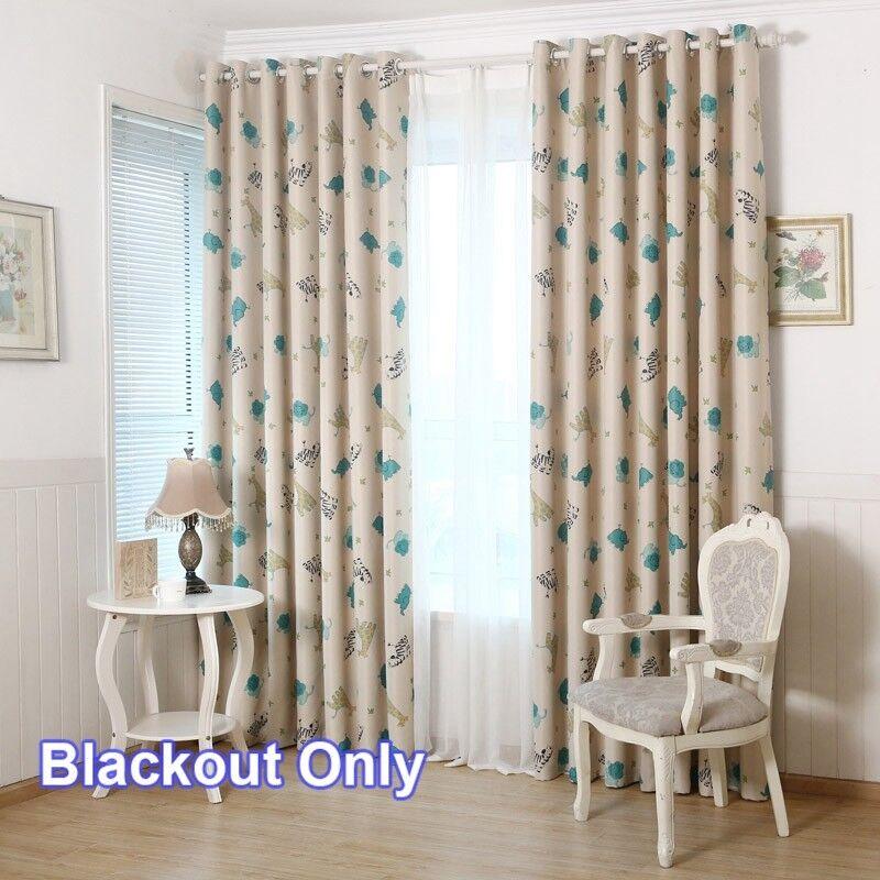 Kids Room Blackout Curtain Cute Animal Print Drape Thermal I
