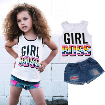 For Kid Baby Girls Summer T-shirt Vest Tops+Short Denim Jean Pants Casual Outfit (Kids Outfits For Girls)