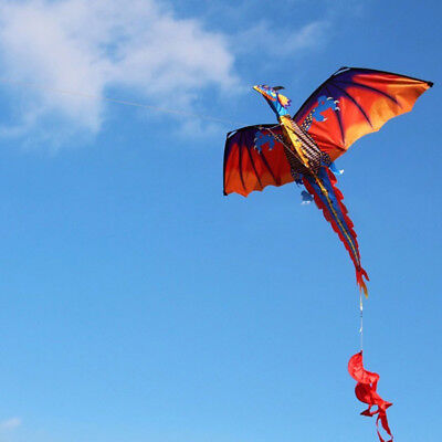 Classical 3D Flying Dragon Kite 140 120Cm Line With Tail Outdoor Kids Play Toy
