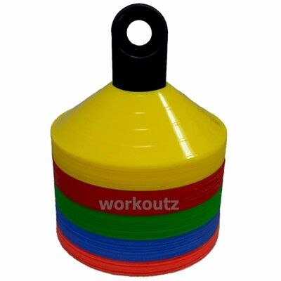 WORKOUTZ SAUCER DISC CONES WITH SORTER (100 QTY) MARKER SPORTS FOOTBALL (Saucer Cones)