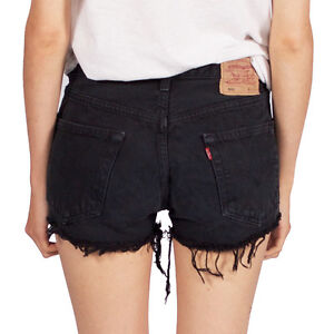 LEVIS-VINTAGE-WOMENS-HIGH-WAISTED-BLACK-501-DENIM-SHORTS-4-6-8-10-12-14-16