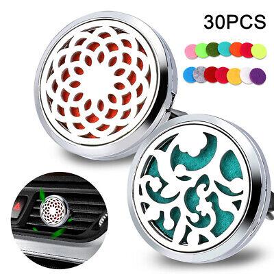2x Car Vent Clip Air Freshener Essential Oil Diffuser 316L Steel Locket + 32Pads