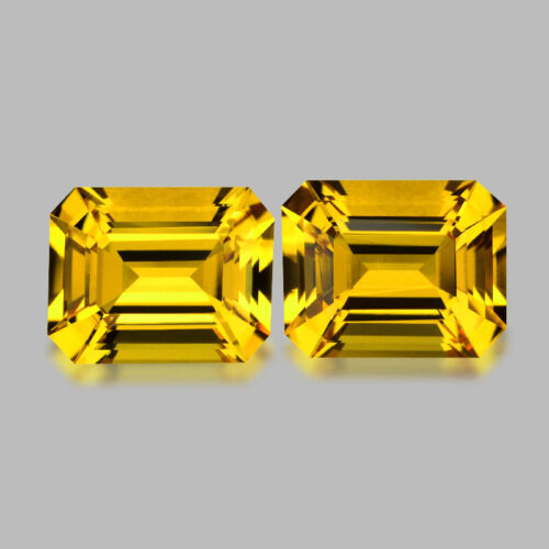 4.16cts CALIBRATED 9x7mm EMERALD CUT GOLDEN YELLOW HELIODOR PAIR WATCH VIDEO