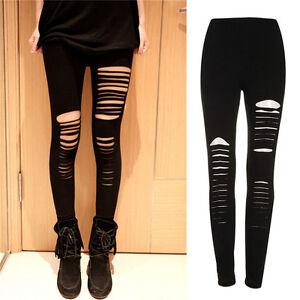 f6cbd00d1a3740 Sexy Black Punk Ripped Torn Slashed Cut Striped Leggings Pants Gothic Club  new~