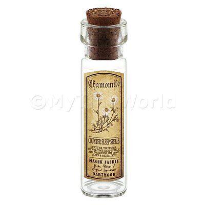 casa delle bambole FARMACISTA CAMOMILLA eerbe LUNGO seppia etichette e bottiglia