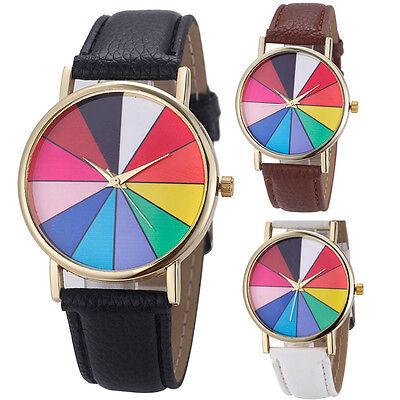 Simple Fashion Unisex Geometry Analog Quartz Wrist Watch Pu Leather Watches Gift