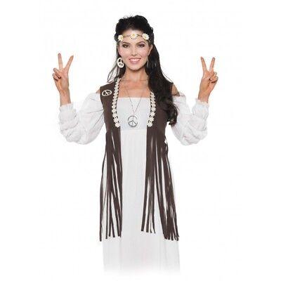 Flower Costume For Women (60S 70S LADY WOMEN FEMALE RETRO PEACE HIPPIE COSTUME FRINGE VEST W/ FLOWER)