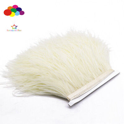 (Creamy-white 1/5/10 Meter Ostrich Feather Cloth Trims 3.15-6Inch/8-15Cm Carnival)