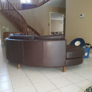 HIGH END Chocolate Brown leather Sectional Couch