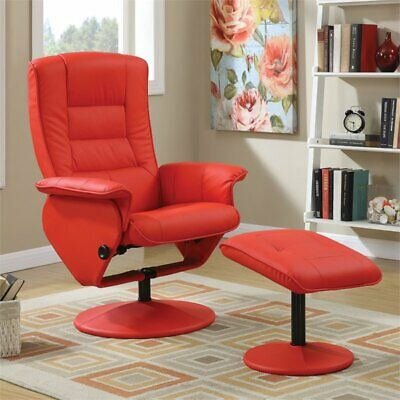 ACME Furniture Arche 2 Piece Recliner Chair and Ottoman Set in Red Acme Furniture Set Chair