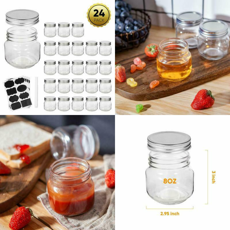 Half-Pint Mason Jars 24 Pack Set 8 OZ with Lids and Bands Wi