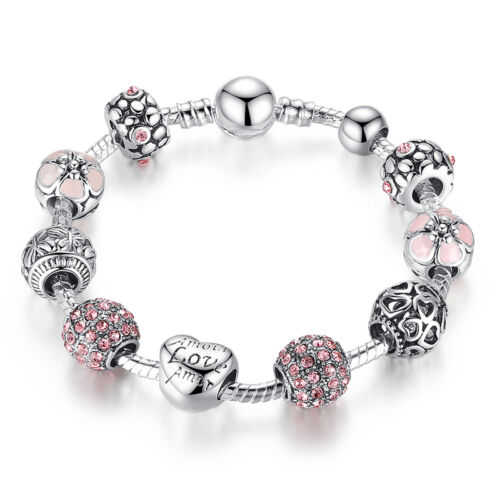 DIY European 925 Silver Charms Bracelet with Pink CZ beads F