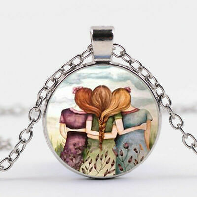 Sisters Cabochon Necklace Big Middle Little Sis Family Love Boho Best Friends BF