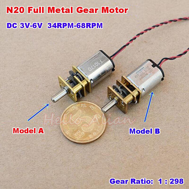 DC 3V-6V 5V 55RPM Slow Speed Mini N20 Full Metal Gear Motor Reduction Gearbox
