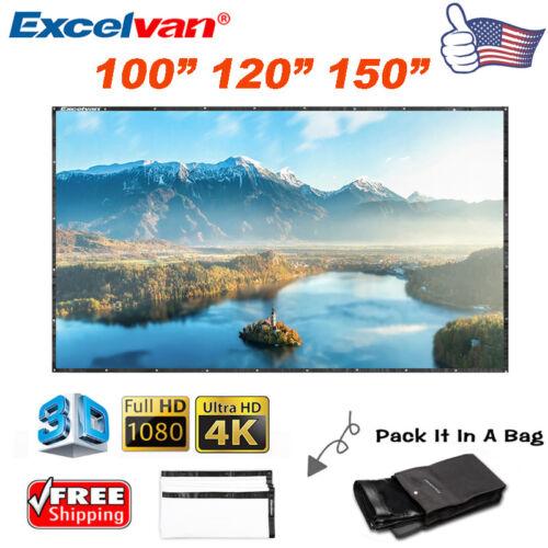 "100"" 120"" 150"" 16:9 HD 3D 4K PVC Projector Projection Screen"