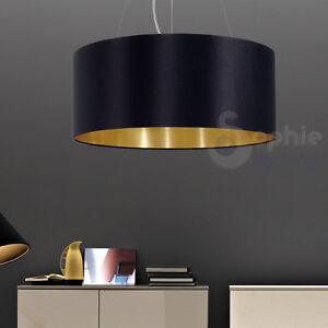 lampadario moderno economico : Lampadario-sospensione-53-design-moderno-paralume-nero-oro-cromo-sala ...